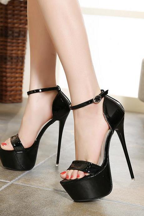 Pure Color PU Stiletto Heel Peep Toe Ankle Strap High Heels