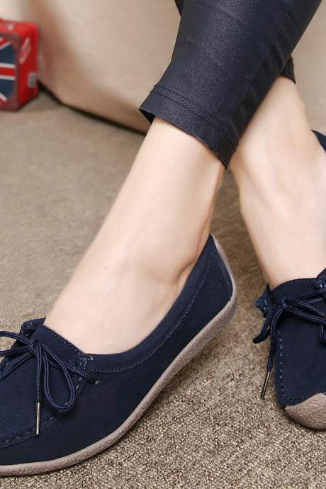 Suede Pure Color Round Toe Lace-Up Flats