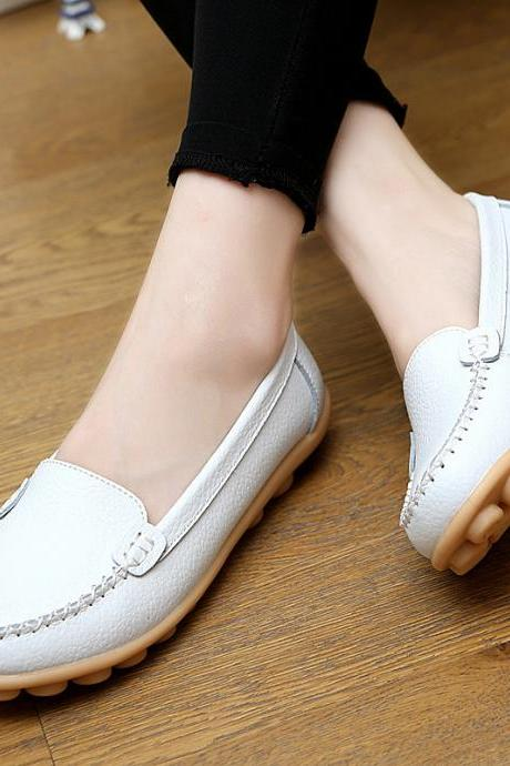 Leather Pure Color Round Toe Flats