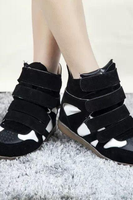 PU Slope Heel Patchwork Round Toe Short Boots