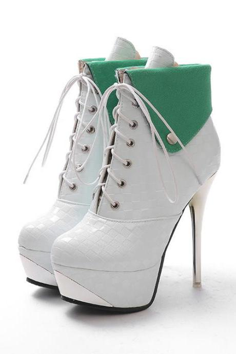 PU Stiletto Heel Pure Color Round Toe Straps High Heels