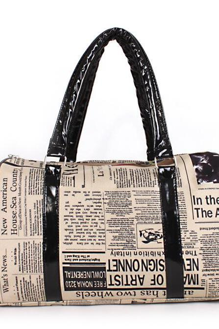 Distinctive Newspaper Printing Women Satchel