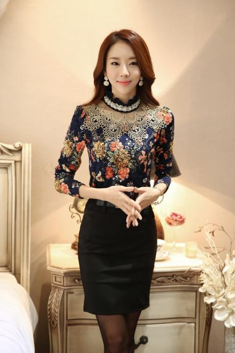 High-necked Lace Pure Color Patchwork Long Sleeves Long Blouse