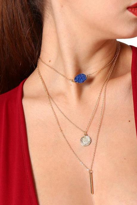 Color Copy More Natural Stone Multilayer Suit Necklace