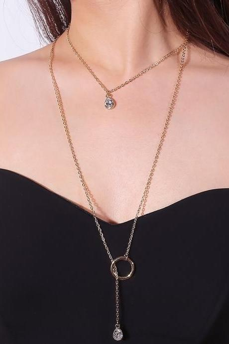 Water Droplets Set Auger Tassel Multilayer Clavicle Necklace