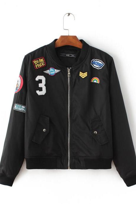 Black or Army Green Bomber Jacket, Baseball Jacket with Badge Applique and Pockets