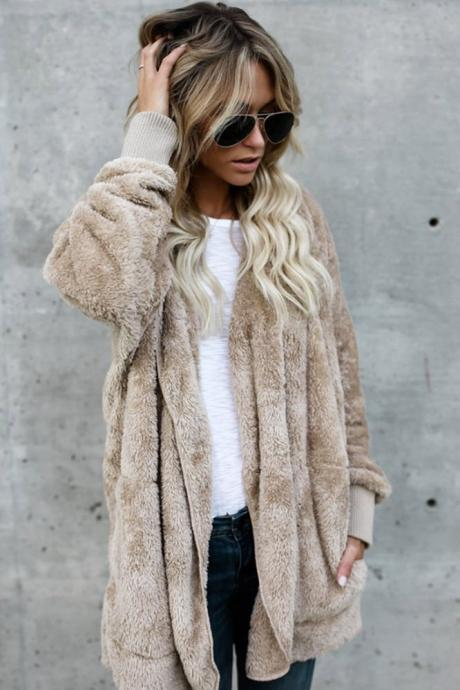 Loose Faux Fur Warm Short Hoody Coat