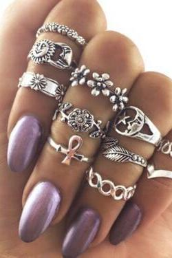 Hollow Out The Sun Moon Stars Flower 11 Pieces Of Each Ring Set