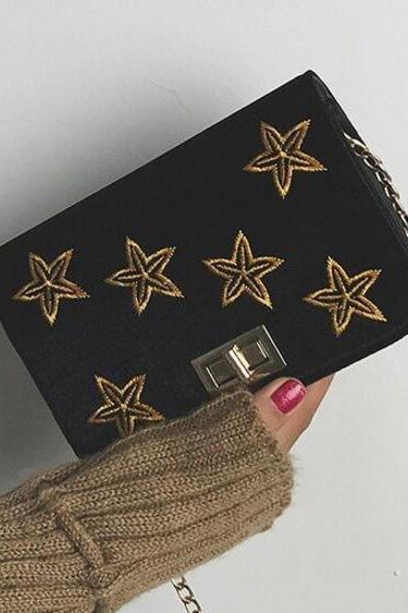 Five-Pointed Star Decoration Crossbody Bag