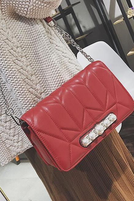 Casual Solid Color Pearl Decoration Crossbody Bag