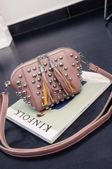 Rivet Shell Type Mini Crossbody Bag