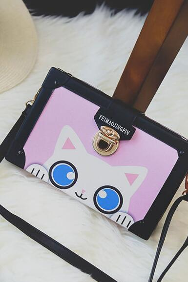 Cute Cartoon Prints Latch Crossbody Bag