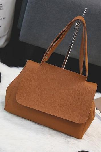 Simple Plain PU Shoulder Bag, Handbag