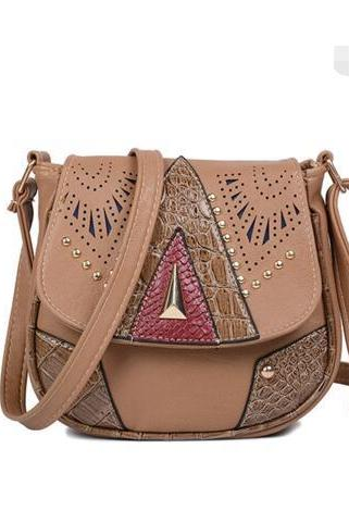 Casual Rivet Hollowed Decoration Saddle Cross Body