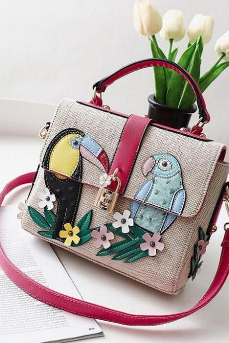 Flower-And-Bird Printing Knitted Crossbody Bag
