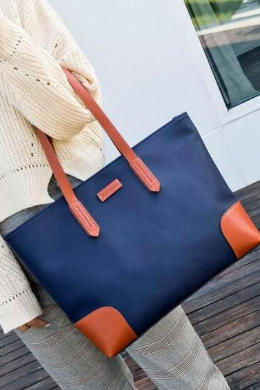 Colour Block Polyester Tote Bag