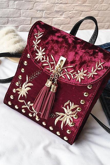 Ethnic Style Embroidery Tassel Women Backpack