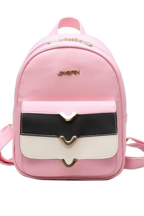 Casual Color Block Zipper PU Backpack