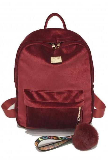 Well Match Color Color Velvet Women Backpack