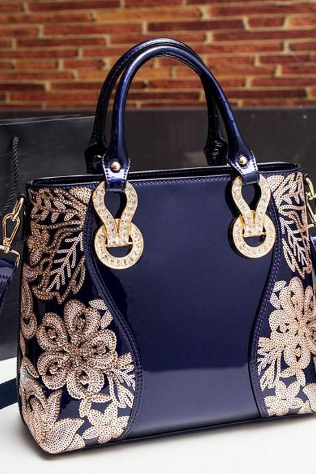 Glossy Embroidery PU Women Satchel