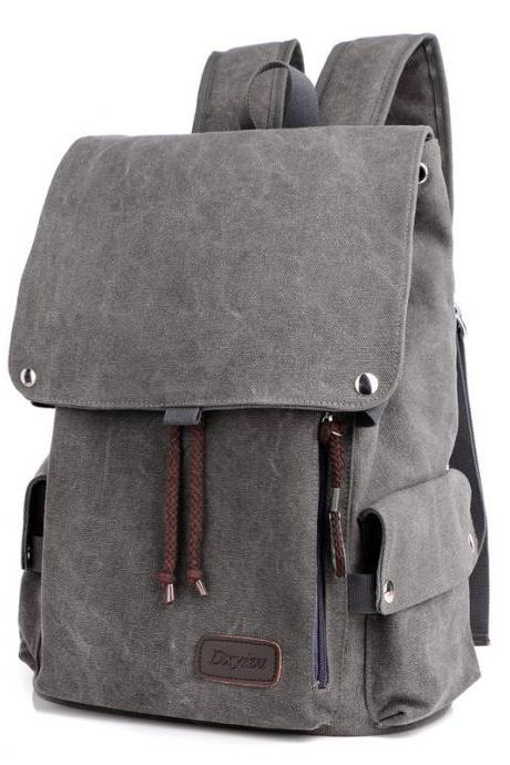 Korean Style String Men's Canvas Backpack