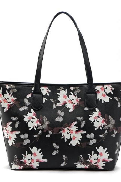 Floral Print Black Faux Leather Tote Bag