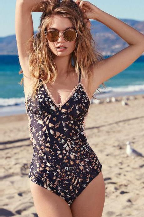 Print Backless One Piece Swimwear