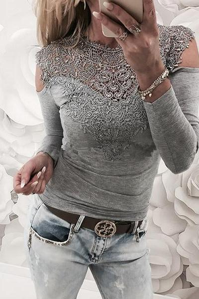 Lace Slim Scoop Patchwork Long Sleeves Cut Out Blouse