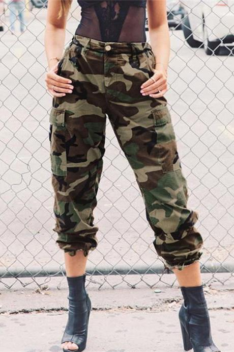 Camouflage High Waist Patchwork Loose Casual Pants