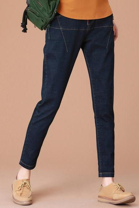 Solid Color Middle Waist Loose Denim Harem Long Jeans Pants