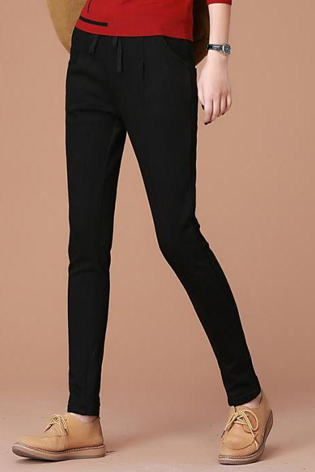 Thick Solid Color Loose Harem Casual Long Pants