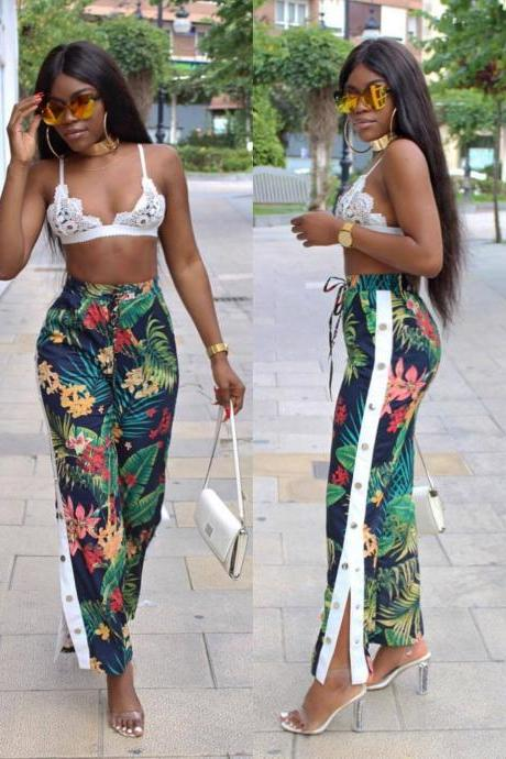 High Waist Flower Print Loose Buttons Split Long Pants