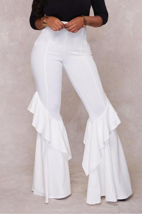 High Waist Ruffles Long Bell-bottomed Solid Color Pants
