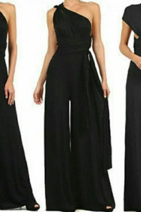 Backless Loose One Shoulder Bandage Long Wide-leg Jumpsuits
