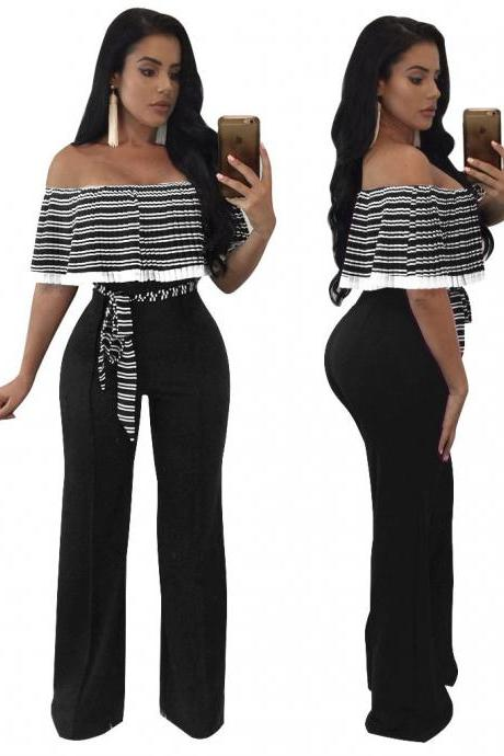 Short Sleeves Striped Off Shoulder High Waist Long Wide-leg Jumpsuits