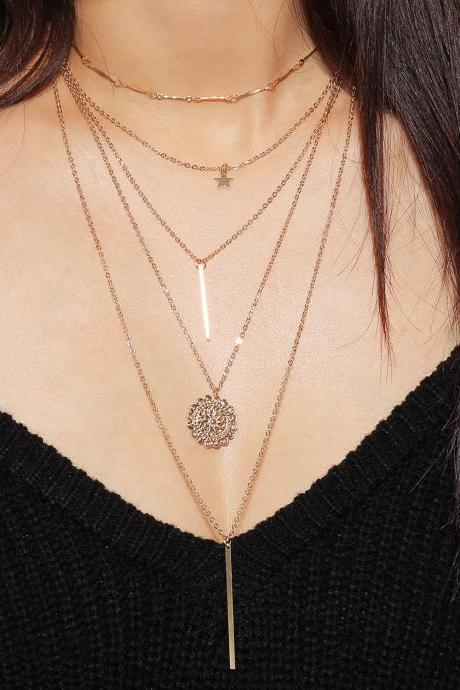 Pentagram Sunflower Combination Necklace
