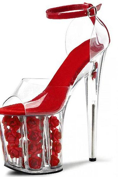 Transparent Heel Rose Flower Stiletto Heel Super High Heel Platform Sandals