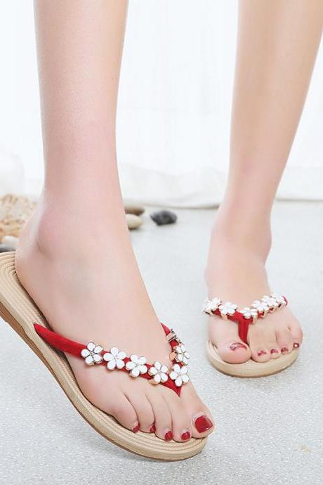 PU Flower Slip-on Beads Round Toe Slip-on Slipper Sandals