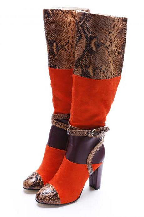Patchwork PU Chunky Heel Round Toe Belt Buckle Knee-length Boots