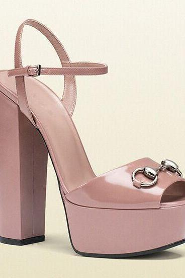 Super High Chunky Heel PU Peep-toe Ankle Strap Sandals