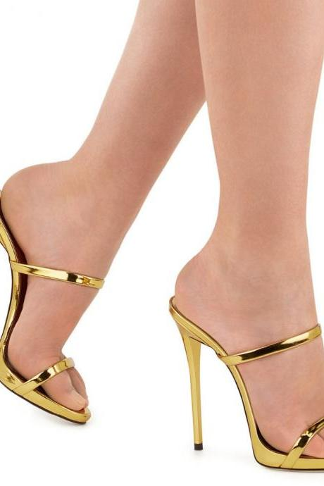 Simple Style Open Toe Stiletto High Heel Slipper Sandals