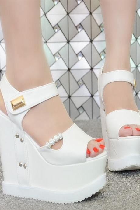 Ankle Strap Super High Wedge Heel Peep-toe Sandals