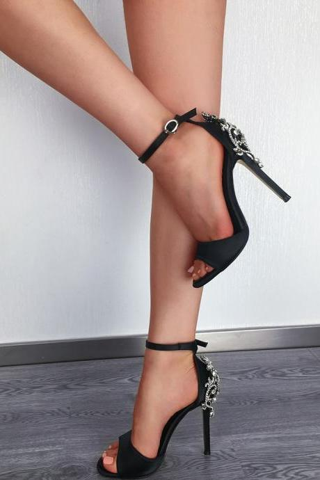 Crystal Peep Toe Ankle Wrap High Stiletto Heels Sandals