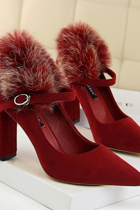 Rabbit Fur Middle Chunky Heel Pointed Toe High Heels