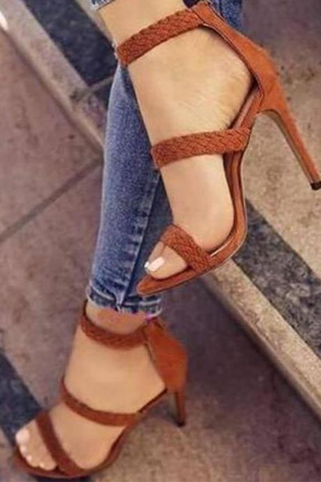 Waves Open Toe Ankle Wrap Zipper Stiletto High Heel Sandals