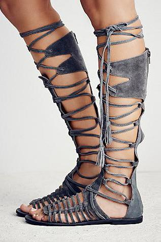 Straps Hollow Out Tassels Flat Gladiator Sandals