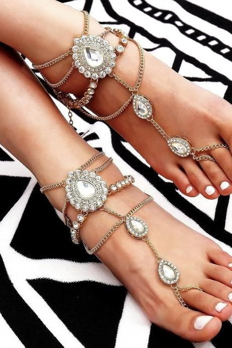 Hawaiian Wind Drops Fringed Beach Anklets