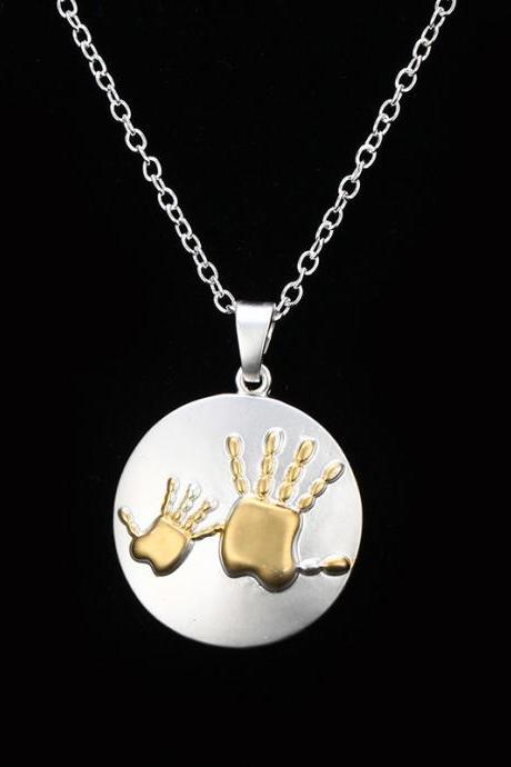 New Two-color Mother-child Big Hand Small Hand Necklace