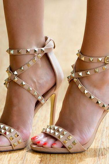 Rivets Open Toe Ankle Wrap Straps Stiletto High Heel Sandals