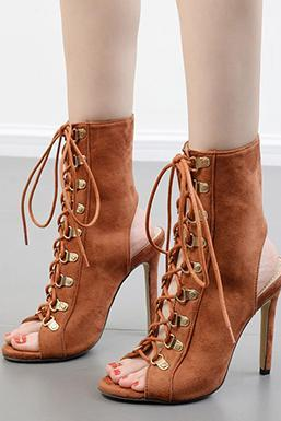 Roman Lace Up Peep Toe Ankle Boot Stiletto High Heel Sandals